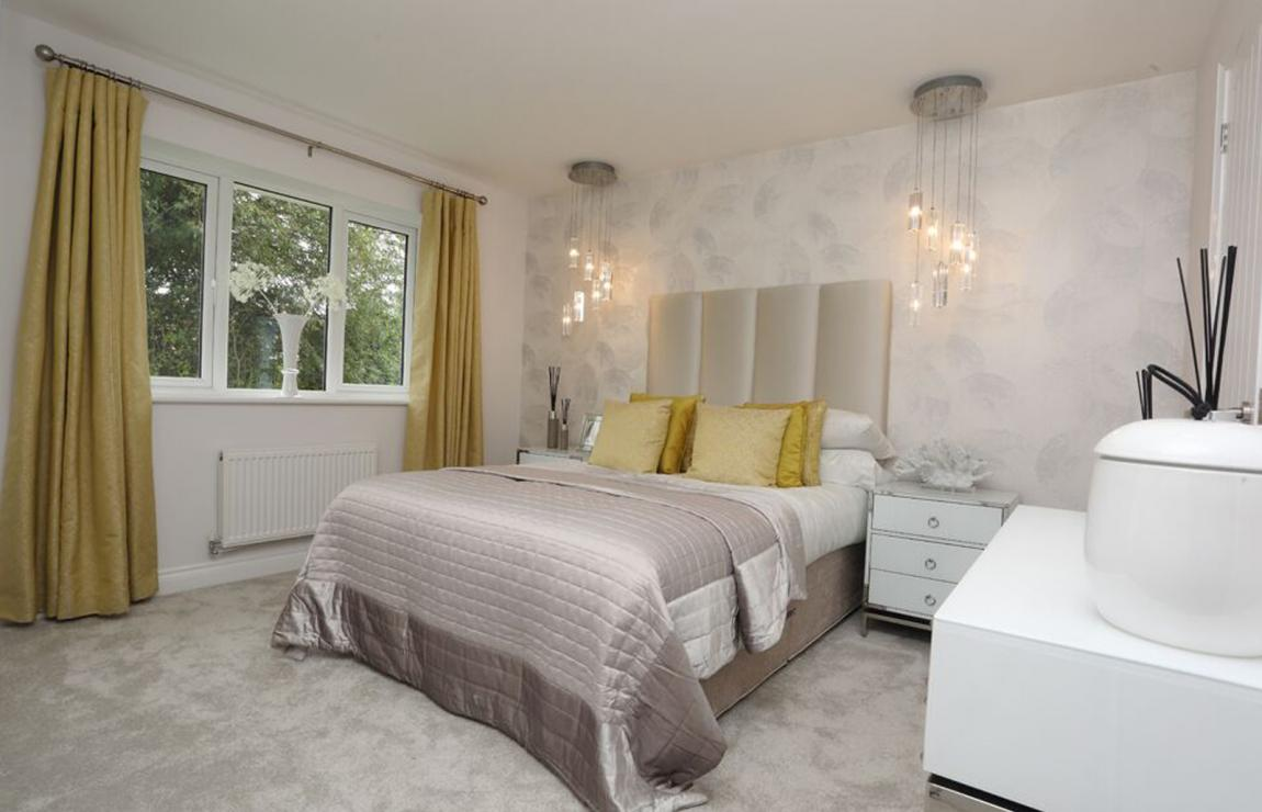 A new build bedroom inside an Eccleston homes development