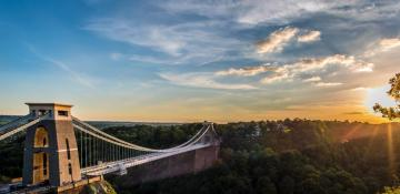 Bristol Clifton bridge at dawn